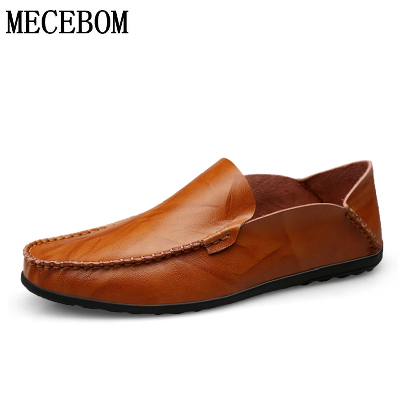 Men's Loafers Leisure Brown Gentleman Driving Boat Shoes Slip-on Split Leather Men Business Shoes Moccasins 38-46 1801M