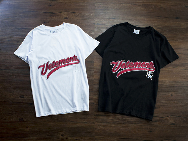 Us 17 99 2018 Best Version Summer Sup Vetements Logo Embroidery Women Men T Shirts Tees Hiphop Streetwear Men Cotton T Shirt Vetements In T Shirts