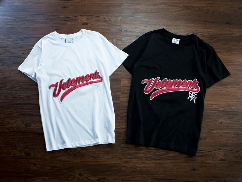 2018 Best Version Summer Sup Vetements Logo Embroidery Women Men T shirts tees Hiphop Streetwear Men Cotton T shirt Vetements