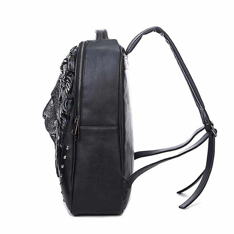 4ca443e1bcd4 PU Leather Backpack 3D Printing Wolf Women Backpacks Men Brands Designer  Large Capacity Bags School Bags For Teenagers Backpack
