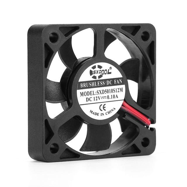 2 個 3D ファン真新しい sxdool SXD5010S12M 50 ミリメートル 50*50*10 ミリメートルスリム 10 ミリメートル厚さ DC12V 0.10A 4500 rpm 11.2CFM 軸冷却ファン