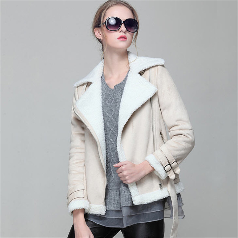 Jaqueta De Couro Feminina 2018 New Fashion Winter   Suede   Motorcycle Jacket Lamb Wool Coat Thick Warm Slim   Leather   Outerwear A627