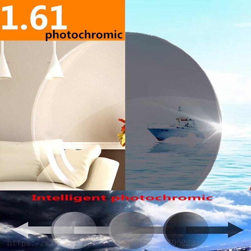 1.61 Index Ordonnance Verres Photochromiques Transition Gris Brun Lentilles pour Myopie/Hypermétropie Anti Éblouissement Anti Rayonnement et UV 2 pc