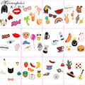 4-7 PCS/Set Cartoon Brooch Pin Enamel Cute Animal Fruit Pear Ice Cream Lapel Pin Collar Women Girl Pins Badges for clothes