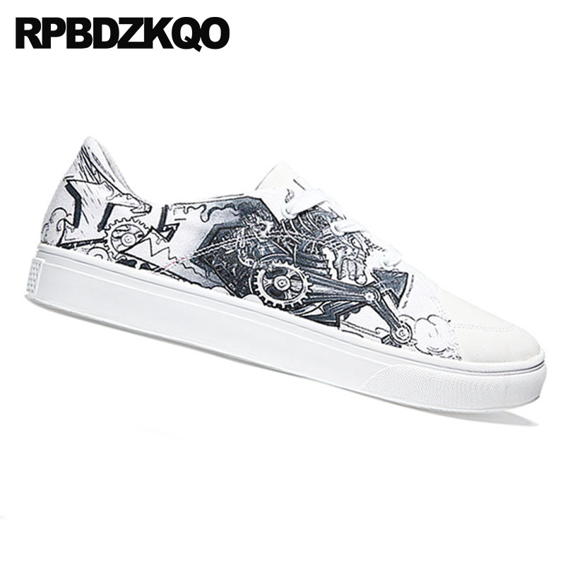 Pista Alta Up Los De Blanco Hombres Lujo Lace Pintura Skate Calidad Famosa Zapatillas Pisos Blancos Zapatos Impreso Marca FqS1RHww
