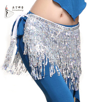 12 Colors Wonmen Belly Dance Clothing Accessories Tassel Belts Belly Dance Hip Scarf Sequins Belt