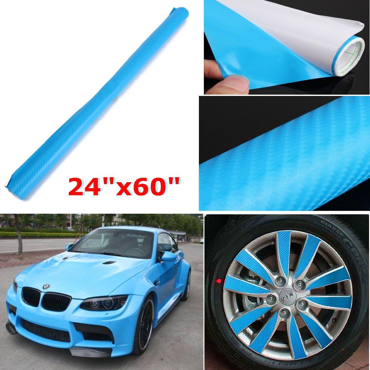 Car carbon sticker design - 60x152cm 4d Gloss Blue Car Carbon Fiber Vinyl Wrap Skin Sticker Decal Cover Diy 24x 60