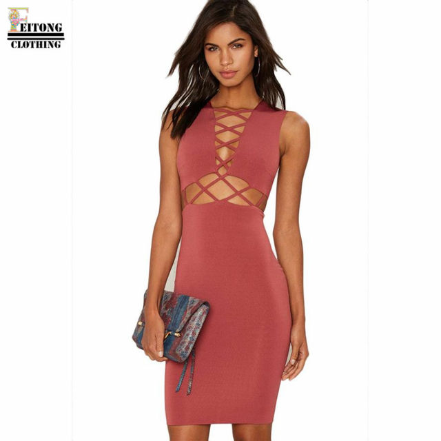 Online Shop FEITONG Womens Sleeveless Bodycon Front Bandage Hollow ...