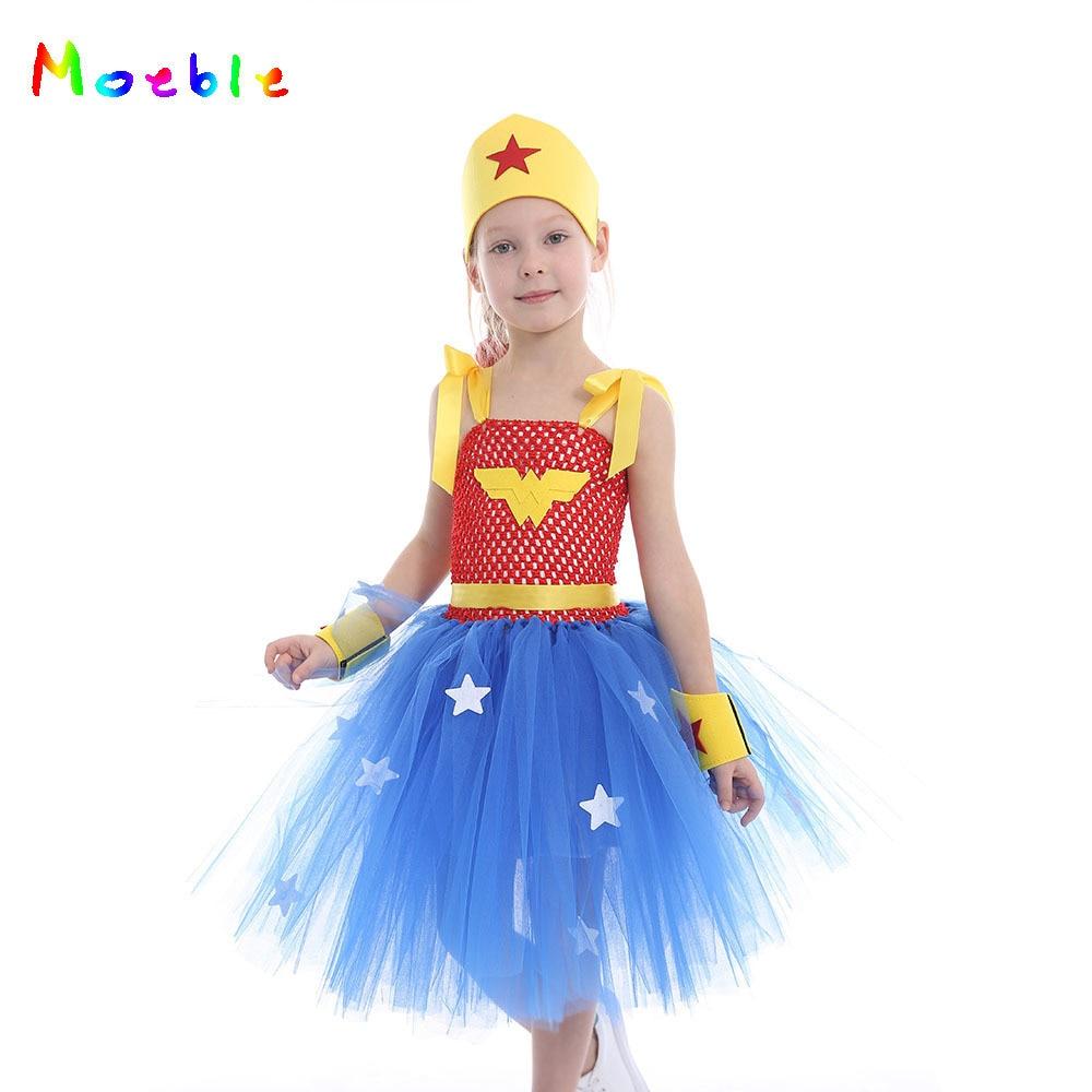 Wonder Woman Halloween Costume Kids.Us 9 05 42 Off Blue Wonder Woman Tutu Dresses For Girls Cosplay Costume Kids Party Dress For Festival Halloween Puffy Princess Dress Vestidos In