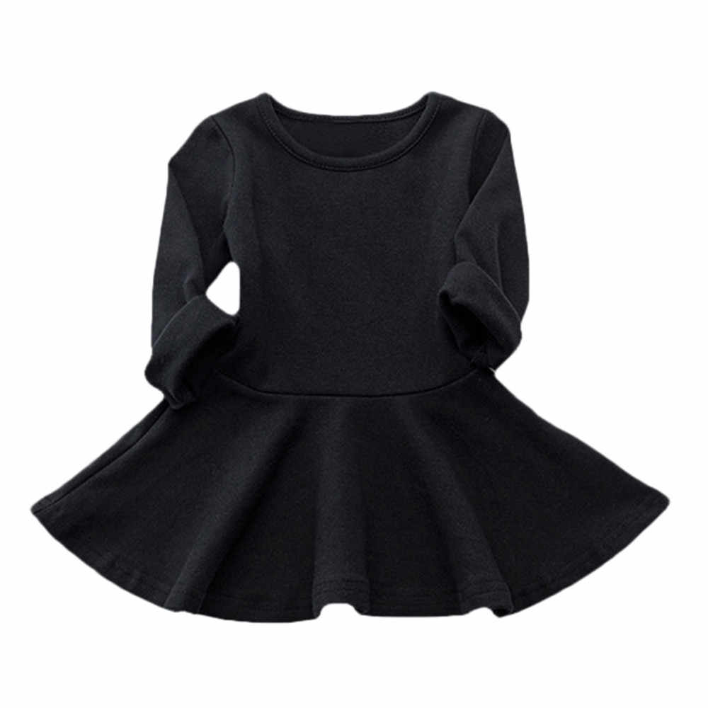 vestido infantil baby girl dress 7 Candy Color Long Sleeve Solid Princess Casual Toddler Kids Dress baby girl clothes