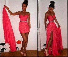 2 piece prom dress red color sweetheart sleeveless chiffon mini sexy dresses SP1629