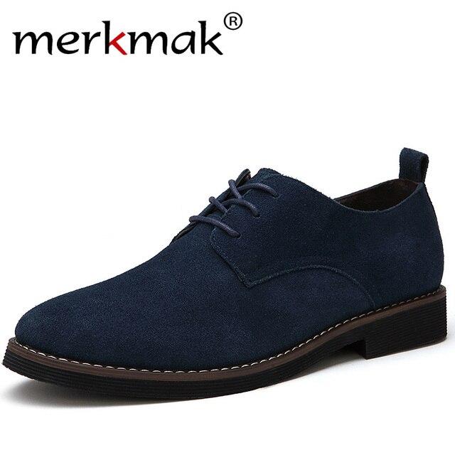 Merkmak/бренд плюс Размеры 48 Мужская повседневная кожаная обувь оксфорды замши Мужская обувь на плоской подошве Демисезонный Роскошные модные классические туфли