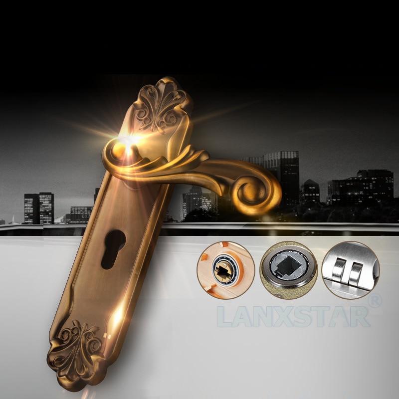 ФОТО Manufacturers Selling High-end European Style Ancient Zinc Alloy Locks Mechanical Door Lockset Copper Lockcore Handle-lock