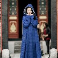 MM001 2016 Винтаж Стиль Королевский синий цвет 3d Лен Длинные рукава большие размеры платье макси Халат с капюшоном женские