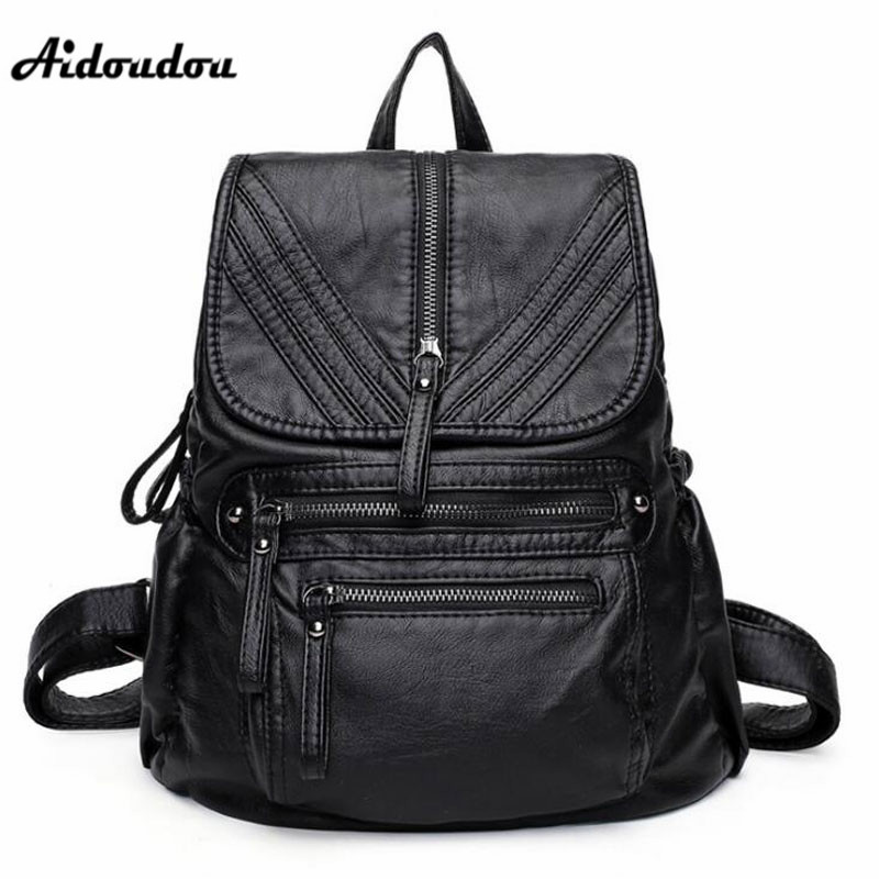 AIDOUDOU Luxury Designer Fashion Backpacks Genuine Leather Women's Travel Backpack High Quality Big School Bags For Girls aidoudou hot sale rivet women leather backpack fashion school bags for teenagers girls high quality ladies backpacks black