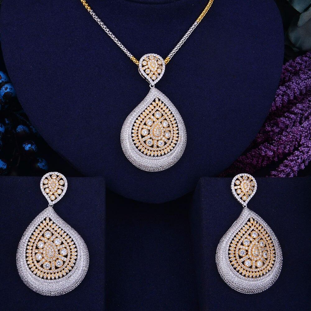 GODKI Water Drop Flower Luxury 2 Tone Women Wedding Naija Bridal Cubic Zirconia Necklace Dubai Dress Jewelry Set