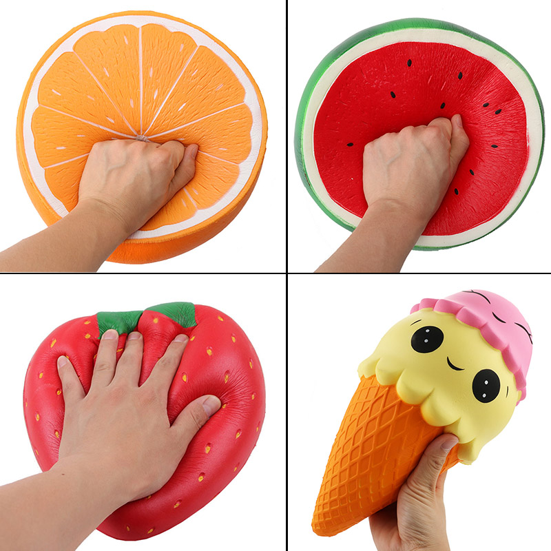 Giant Squishy Fruit Slow Rising Toy Soft Huge Strawberry Watermelon Orange Squishies Anti-stress Toys Decoration Gift