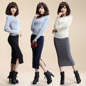 Image 1 - 2016 סתיו חורף נשים חצאית צמר צלעות לסרוג ארוך חצאית Faldas חבילה ירך פיצול חצאיות D919