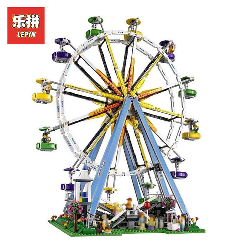 In Stock DHL Lepin Sets 15012 2478Pcs City Street Figures Expert Ferris Wheel Model Building Kits Blocks Bricks Kids Toys 10247 lepin 15012 2478pcs city series expert ferris wheel model building kits blocks bricks lepins toy gift clone 10247