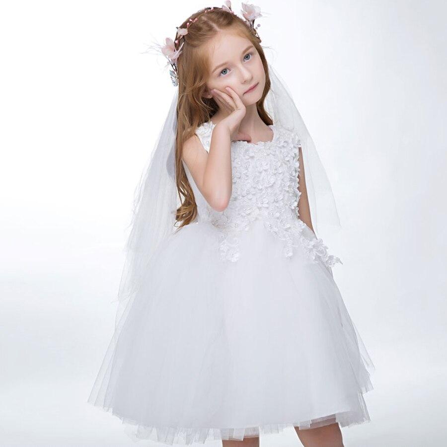 White Flower Girl Dresses Ball Gowns First Communion Dresses For