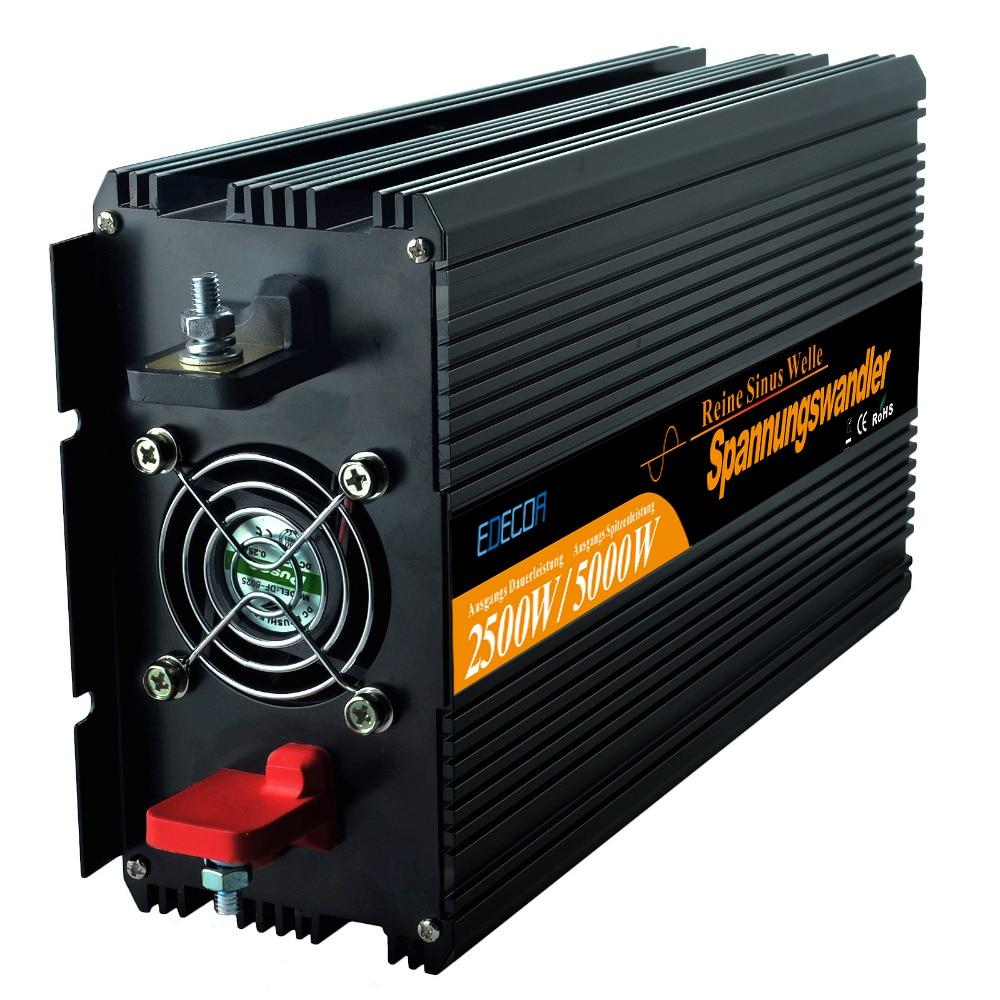 2500 Вт Чистая синусоида Солнечной Инвертер DC 12 В 24 В к AC 220 В 230 В с пульт дистанционного управления от сетки инвертор