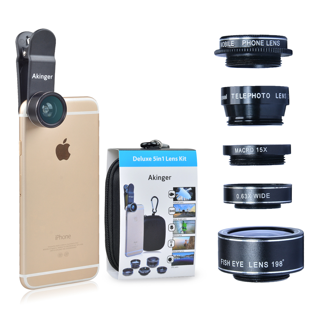 Akinger HD Camera Lens in mobile phone lens Kit 5 in 1 for iPhone xiaomi note Samsung Galaxy Edge and Other Android Smartphones