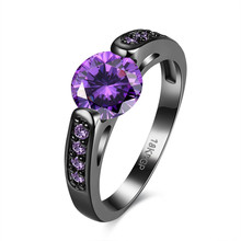 Fashion Jewelry Purple Stone February Birthstone Rings Women Engagement Ring Band Black Gold Filled Wedding Rings