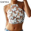 GACVGA Sexy Butterfly Embroidery Lace Women Tops Perspective Camisole Backless Tank Strap Crop Top Vintage Blusa