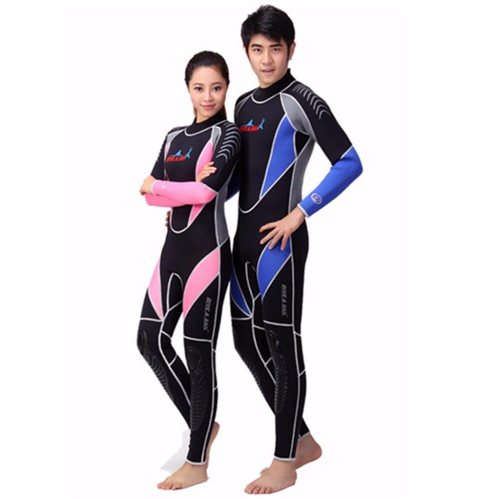 Neoprene 3MM Scuba Diving Suit Men Women Wetsuits Equipment Snorkeling Jumpsuit One Piece Long Sleeved Surf Wear Rash Guards