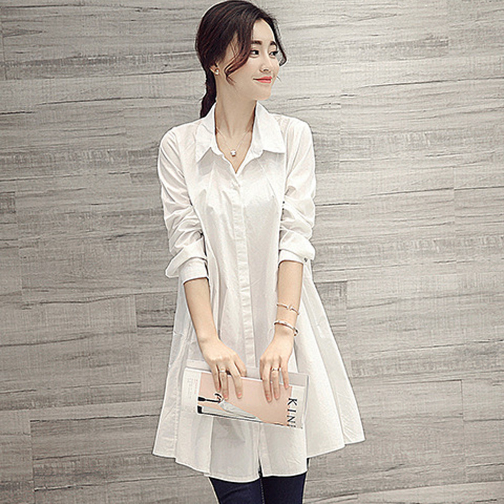 cfd4c8a02207 Womens Tops and Blouses 2018 Long Sleeve White Shirts Tunic Button Ladies  Long Top Clothes Loose Korean Clothing Streetwear-in Blouses & Shirts from  Women's ...