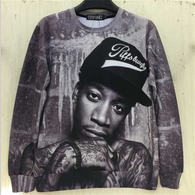 2015 New fashion men/women 3D sweatshirts print character portrait Wiz Khalifa Hip Hop rock singer punk pullover hoodies