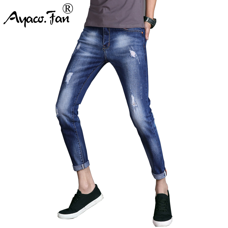 2017 Jeans Men Straight Denim Jeans Trousers Ankle-Length Pants Plus Size 28-36 High Quality Cotton Brand Scratched Mens Jeans airgracias elasticity jeans men high quality brand denim cotton biker jean regular fit pants trousers size 28 42 black blue