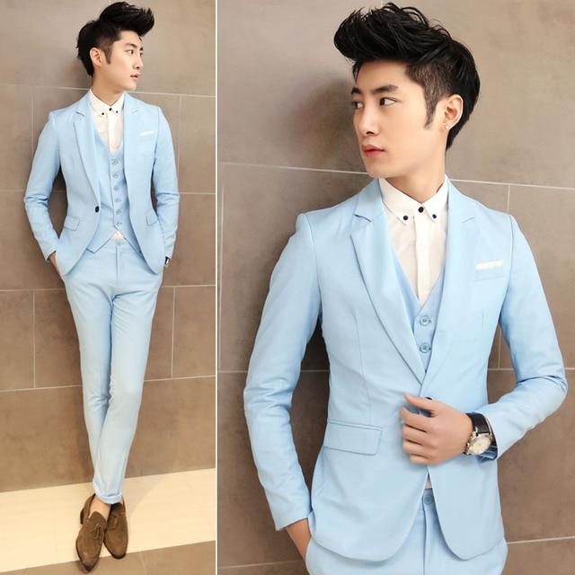 2015 korean fashion men wedding party blazers solid color slim ...
