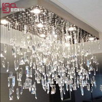 new design rectangular crystal chandelier modern dinning room light hanging lamp lustre de sala indoor lighting fast shipping