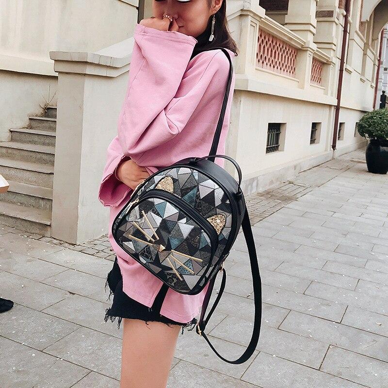 Girls Casual Backpack PU Geometric Design Backpacks Vintage Side Rivets Stud School Bag Lady Women Grey Frosted Leather Ruchsack (4)