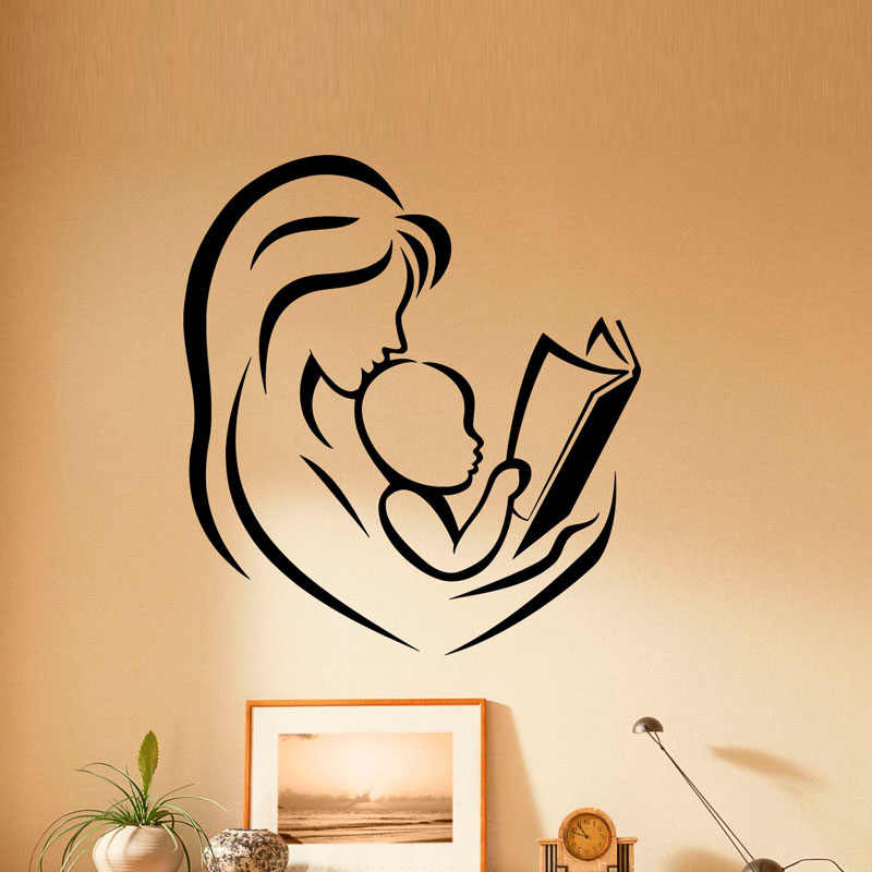 ZOOYOO Mother And Baby Reading Books Wall Stickers Home Decor Kids Children Room Nursery Decoration Vinyl Art Wall Decal Sticker