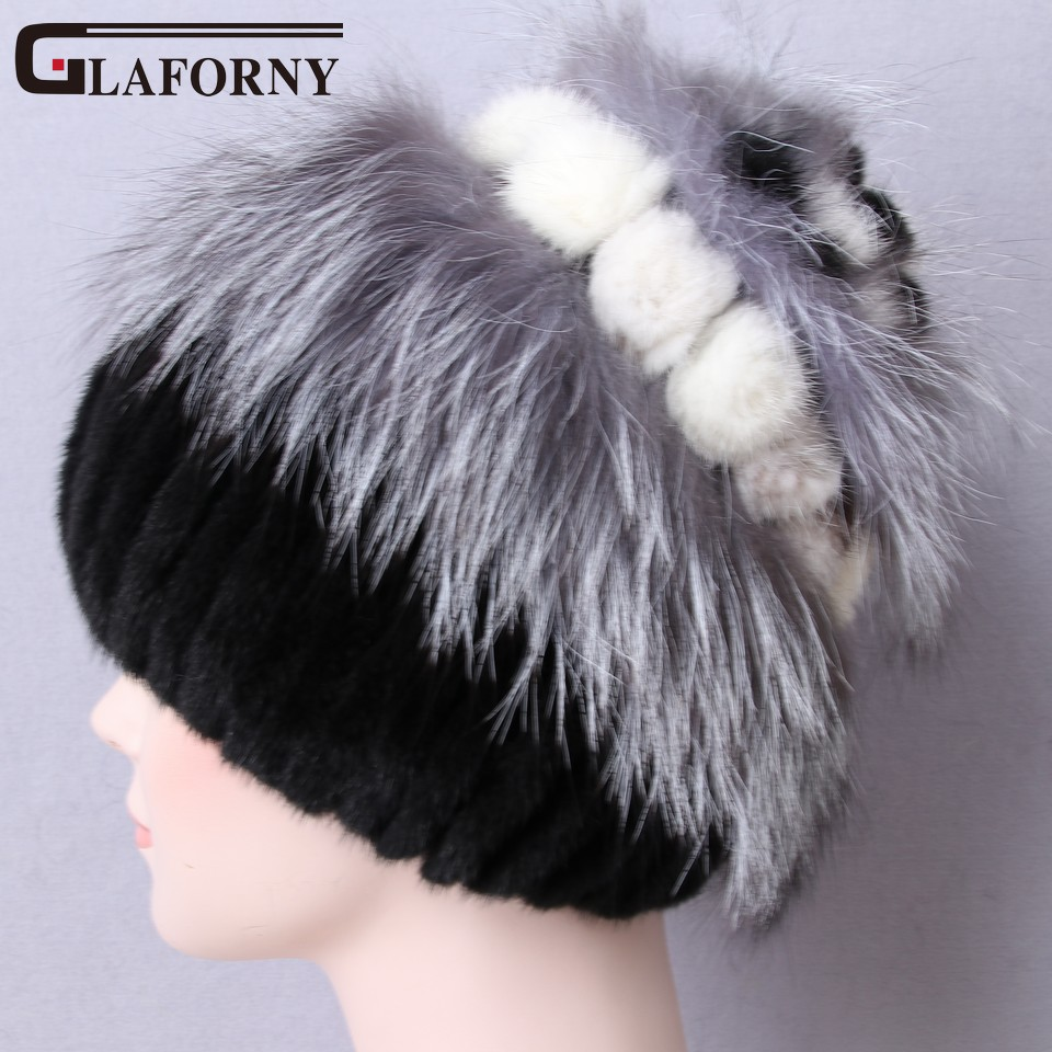 Glaforny Mink-Fur-Hats Winter Russian Fashion Women with Flowers Tops Black Genuine