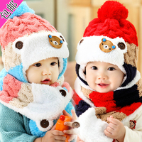 Twinset Lovely Bear Warm Hat Scarf Set Winter Knitted Crochet Hats Bibs Baby Boys Girls Fashion
