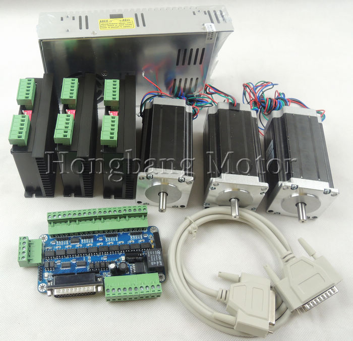 CNC Router 3 Axis kit, 3pcs TB6600 stepper motor driver +one breakout board + 3pcs Nema23 425 Oz-in motor + power supply#ST-4045 free shipping nema23 425 oz in cnc stepper moto 3 0a cnc stepping motor 23hs2430