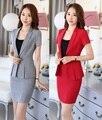 Лето Формальное Серый Красный Пиджак Женщин Buiness Костюмы с Юбка и Пиджак Устанавливает Мода Офис Дамы Работа Костюмы ПР Стиль