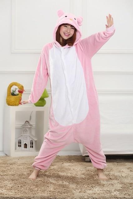 0269d26a97 Warm winter Pink Cat Onesie Pajamas Sleepwear Pyjamas Cosplay Halloween  Costume Winter Spring Men Women Adult Animal Couples