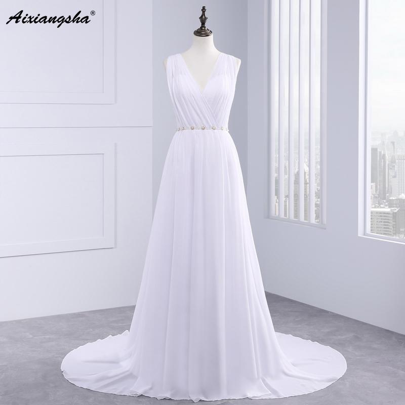 Dress Bride Ivory Chiffon Open Back 2017 Greek Style Vestidos Wedding Dress Sleeveless Floor Length Sexy Wedding Dress 3