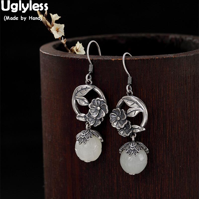 Uglyless Vintage Handmade Thai Silver Flower Earrings for Women Natural Jade Ball Earrings Solid 925 Silver Fine Jewelry Ethnic