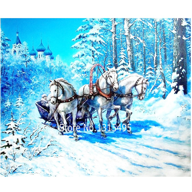 Images of diamonds embroidery painting winter 40x30cm cross stitch the picture pastes painting <font><b>wall</b></font> <font><b>sticker</b></font>