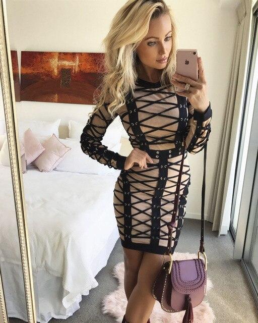 Top Qualität Langarm Sexy Bodycon Kleid Damenmode Partykleid ...