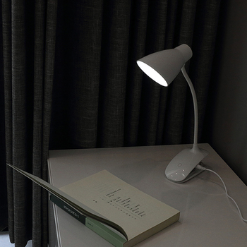 LED Clip on Light, Battery Operated Reading Lamp, USB Rechargeable Book Light, Dimmable Touch-Bedside Lamp, Portable Desk Light