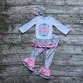 Детские Девушки Осень бутик одежды девушки победитель, который никогда не сдаваться одежда детские оборками брюки длинные одежды с соответствующими оголовье