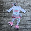 Meninas do bebê Cair roupas boutique meninas vencedor que nunca desista de babados bebê roupas calças compridas roupas com headband correspondência