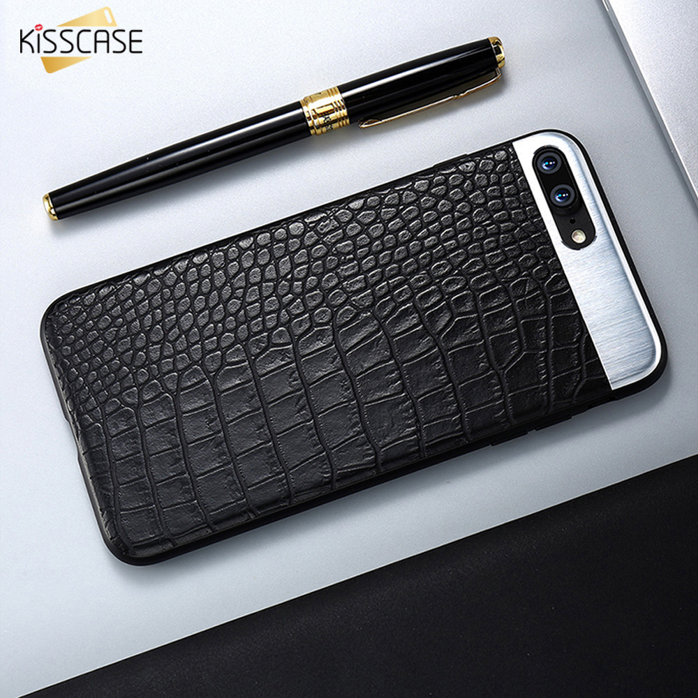 KISSCASE Phone Cases For IPhone 6 7 6s Plus Case Crocodile Leather Business Ultra Slim Coque