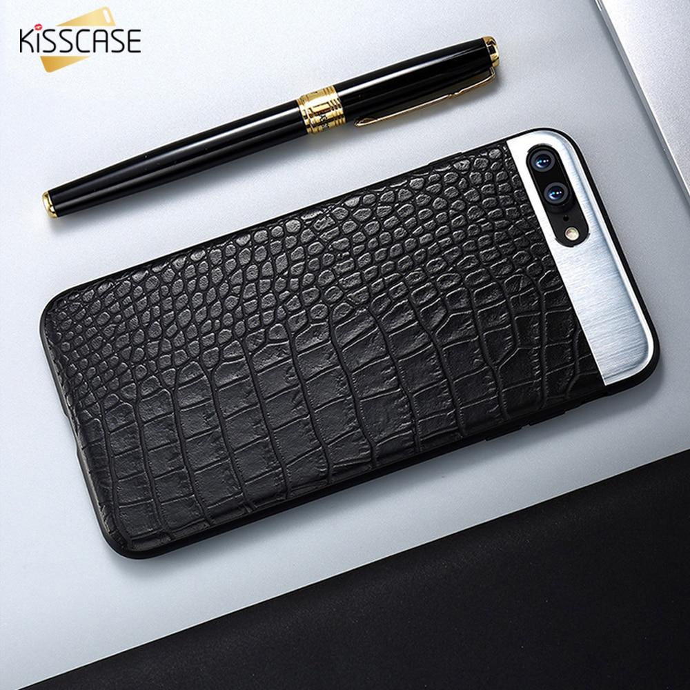 Kisscase Телефонные Чехлы для <font><b>iPhone</b></font> 6 7 6S плюс Чехол из крокодиловой кожи Бизнес Ultra Slim Coque задняя крышка для <font><b>iphone</b></font> 8 7 плюс Капа